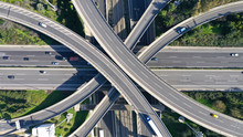 Aerial Drone Photo Of Highway Multilevel Junction Interchange Crossing Road
