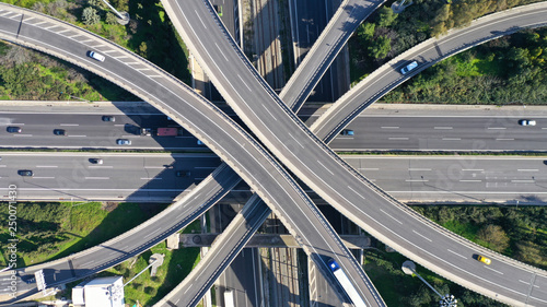 Fotografiet Aerial drone photo of highway multilevel junction interchange crossing road