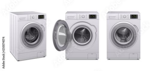 Foto  Washing Machine Realistic Icon Set