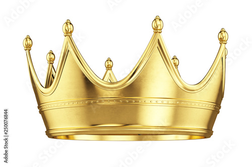 Gold crown isolated on white background - 3d rendering Canvas