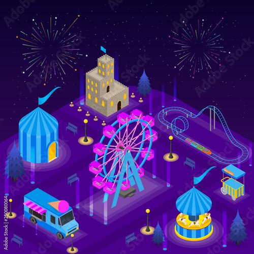 Montage in der Fensternische Violett Amusement Park Card Poster Concept 3d Isometric View. Vector