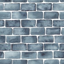 Hand Painted Brick Wall Background In Indigo Blue. Seamless Watercolor Pattern