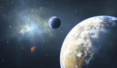 Skaliste planety, egzoplanety lub planety pozasłoneczne, tło kosmiczne.