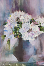 Still Life A Bouquet Of Flowers. Oil Painting Light Peonies In Vase. Hand Oil Painting On Canvas