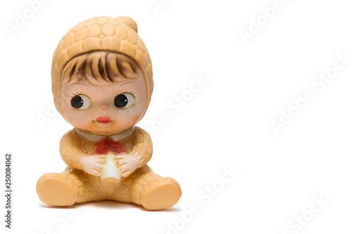 Valokuvatapetti Vintage doll isolated on white background