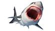Leinwandbild Motiv White shark marine predator with big open mouth and teeth. 3D rendering