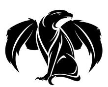 Winged Lion With Eagle Head - Mythical Griffin Creature Black And White Vector Design