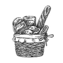 Basket With Fresh Bread. Sketch. Engraving Style. Vector Illustration.