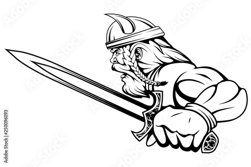 Photo viking warrior with a sword in his hand, suitable as logo or team mascot, vector