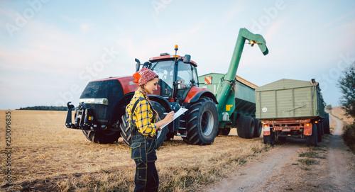 Fotografie, Obraz  Bäuerin rechnet den Ernteerfolg nach einem langen Erntetag aus