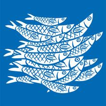 Hand Drawn Illustration A Shoals Of Fish In The Water. Sardine (sardina Pilchardus)