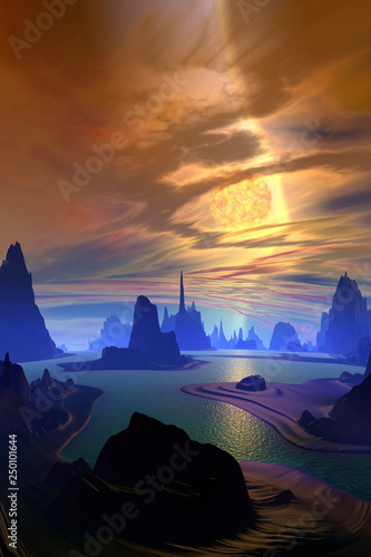 Spoed Foto op Canvas Bali Alien Planet. Mountain and water. 3D rendering
