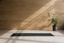 Empty Yoga Mat On The Floor. E...