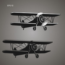 Retro Biplane Plane Vector Ill...