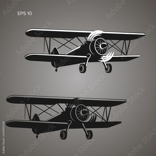 Photo Retro biplane plane vector illustration