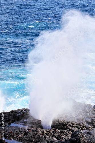 Fotografia, Obraz  Water bursts through blowhole on Espanola Island, Galapagos National park, Ecuador