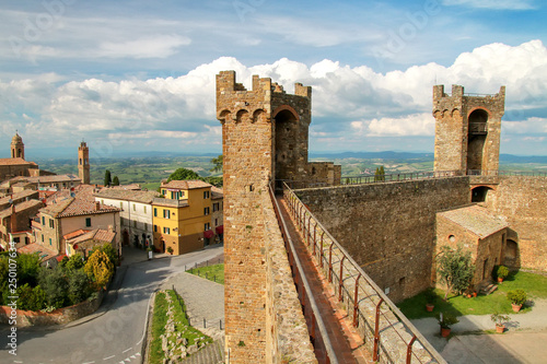 Fototapeta Medieval Montalcino Fortress in Val d'Orcia, Tuscany, Italy