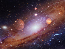 Spiral Galaxy With Planets.