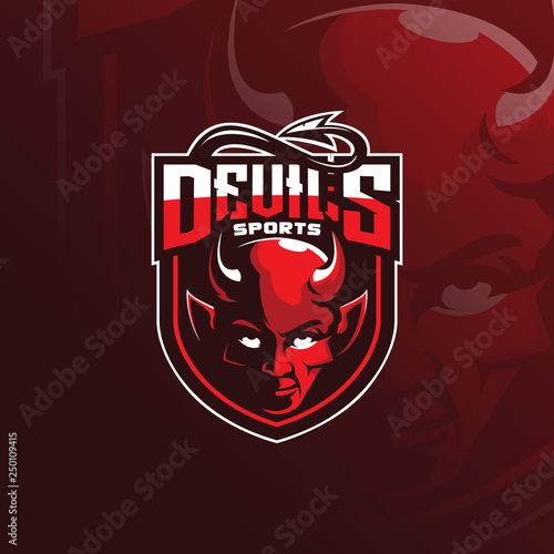Leinwand Poster devil vector mascot logo design with modern illustration concept style for badge, emblem and tshirt printing