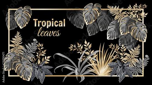 Αφίσα  Template banner dark leaves of tropical exotic plants