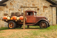 Antique Truck With Fall Harvest