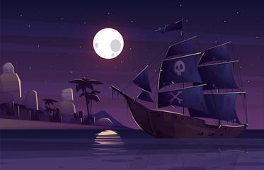 Piracki statek lub galeon z ludzką czaszką i krzyżować kościami na czarnych żaglach, żegluje blisko tropikalnego seacoast przy nocy kreskówki wektoru ilustracją. Skarby ukrywające się i polujące, koncepcja łamania prawa autorskiego