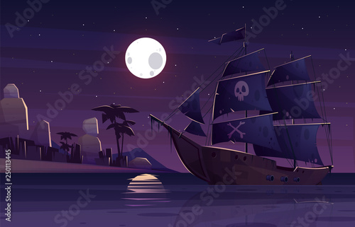 Pirate ship or galleon with human skull and crossed bones on black sails, sailing near tropical seacoast at night cartoon vector illustration Wallpaper Mural