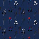 flowers on a dark blue background seamless pattern - 250115213
