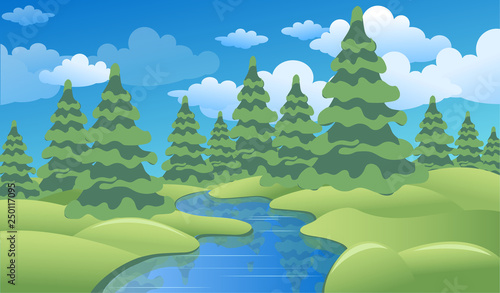 Spring or summer landscape with green meadows, clouds, trees, river and blue sky. Vector cartoon image of nature.