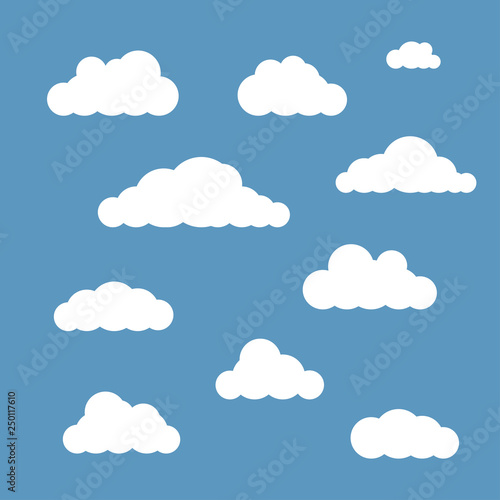 Foto op Aluminium Hemel Vector clouds set isolated on blue sky background