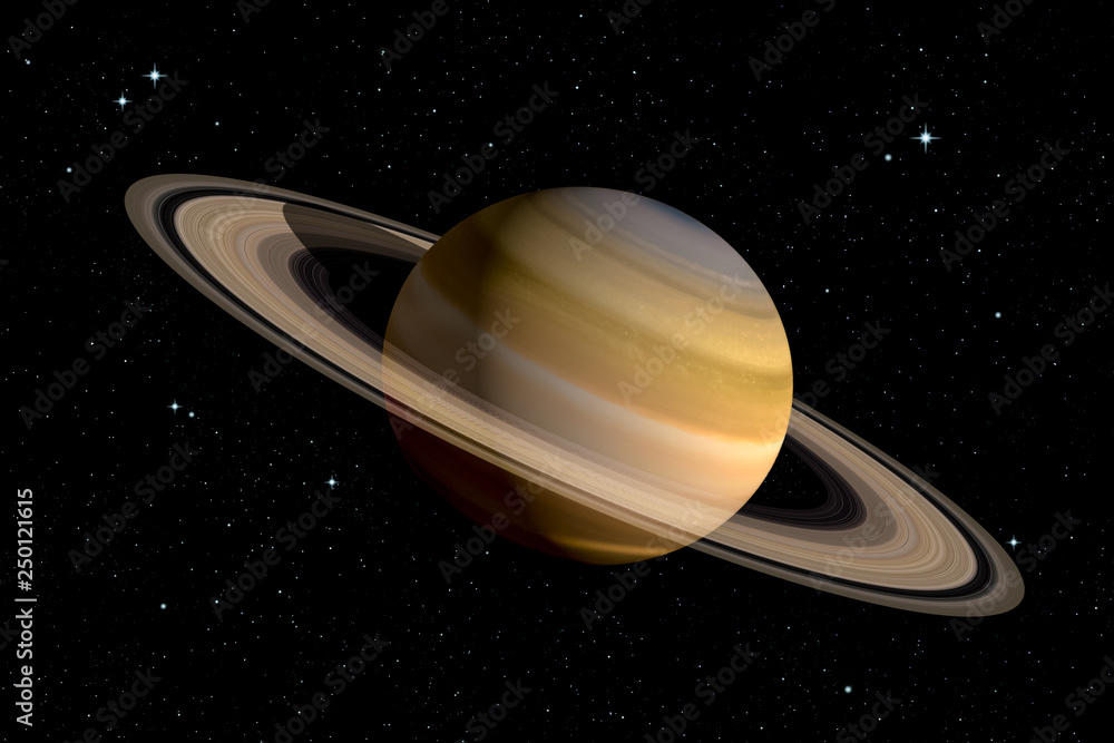 Fototapety, obrazy: Realistic 3d rendering of Saturn planet with With its rings. Space illustration. Some elements furnished by NASA.