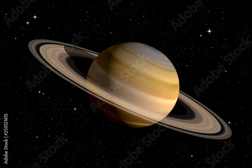 Fotografie, Obraz Realistic 3d rendering of Saturn planet with With its rings
