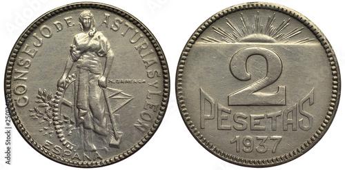 Valokuvatapetti Spain Spanish coin 2 two peseta 1937, Civil War Asturias and Leon issue, female