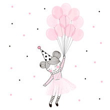 Cute Happy Birthday Girl In Pink Ballerina Skirt Flying Away With A Bunch Of Pink Balloons. Vector Doodle Illustration In Pink Colour For Girlish Designs Like Textile Apparel Print, Wall Art, Poster
