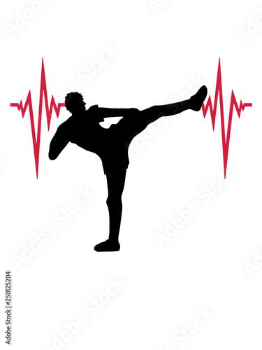 Fotografie, Tablou puls herzschlag frequenz kickboxer kickboxen karate judo kampfsport treten kämpf