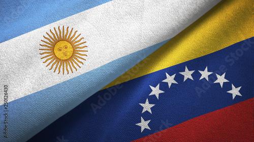 Cuadros en Lienzo Argentina and Venezuela two flags textile cloth, fabric texture