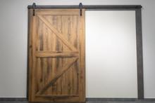 Vintage Sliding Door With Open Ferrous Metal Fittings
