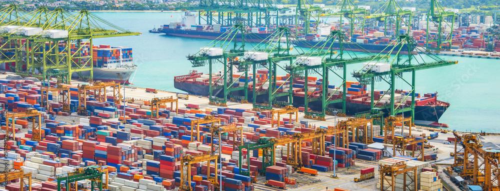 Fototapeta Singapore cargo shipping port panorama