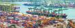 Leinwandbild Motiv Singapore cargo shipping port panorama