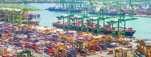 Singapore cargo shipping port panorama