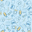 Set of diverse technological items and equipment doodle icons