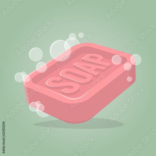retro cartoon illustration of a soap bar