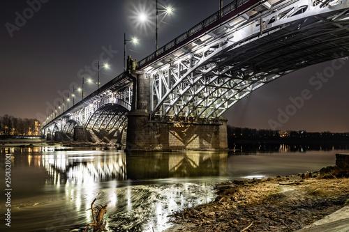Fotografie, Obraz  iluminowany Most Poniatowskiego w Warszawie