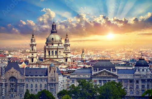 Urban landscape panorama with sunset and old buildings and domes of opera buildings in Budapest, Hungary Wallpaper Mural