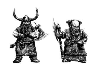 Dwarves  warriors drawing. Digital fantasy illustration.Dwarf with ax.