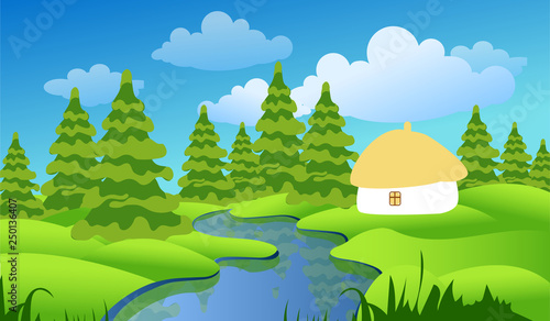 In de dag Lime groen Spring or summer landscape with green meadows, clouds, trees, river and blue sky. Vector cartoon image of nature.