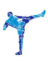 Kratzer Risse Kickboxer Kickboxen Karate Judo Kampfsport Treten Kämpfen Tai-chi Kampfkunst Verein Team Crew Gewinner Shirt Thaiboxen Boxen Clipart Silhouette Angreifen Besiegen Design Cool
