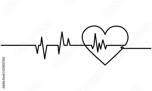Fotografía  Continuous line drawing of heart with heartbeat on Black and white background