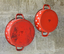 Old Pots Red With White Polka ...