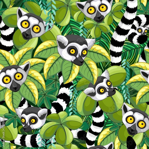 In de dag Draw Lemurs of Madagascar in Exotic Jungle Seamless Pattern Vector Textile Design